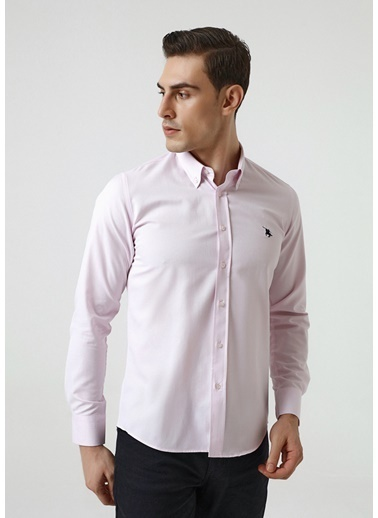 D'S Damat Slim Fit Oxford Gömlek Pembe